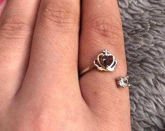 Silver Claddagh ring with gems