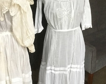 Victorian antique white summer dress tiered skirt