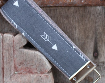 Beautiful Key Fob/Keychain/Wristlet-Single Arrow On Gray-READY TO SHIP