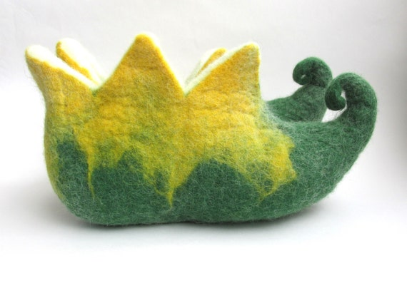 green Elf shoes home yellow felt wool felt slippers slippers booties Felted felted felt shoe slippers house men women fAxYqEU