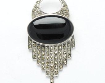 Vintage silver brooch onyx et marcassite