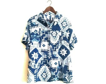 Vintage aztec tribal paper thin hipster plus size shirt