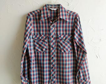 Western Shirt 60s Rockabilly Wrangler Snap Shirt Panhandle Slim Plaid Long Sleeve Western Style  Rustic Button-Up Country Line Dance Shirt