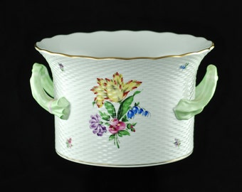 """Large Vintage Herend Porcelain Hand Painted """"Printemps"""" Cachepot with Basketweave Motif and Organic Green Handles"""