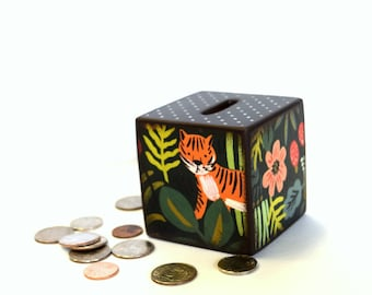 Welcome to the Jungle Wood Bank / Kids Piggy Bank / Wooden Bank / Coin Box / Money Box / Wood Coin Bank / Tiger / Children / Monkey