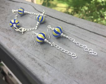 Striped earrings & bracelet set, bohemian, boho, unique jewelry set, trendy, gypsy jewelry set