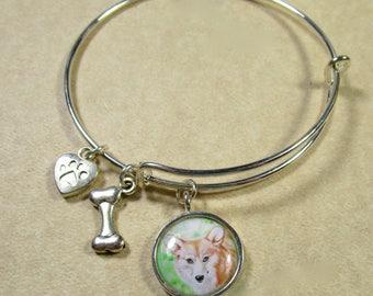 Corgi Bracelet, Pembroke Welsh Corgi Bangle Bracelet, Corgi Jewelry, Corgi Gifts, Gifts with Corgi, Jewelry with Corgi, Corgi Mom Gift