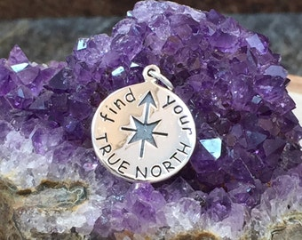 Find Your True North Charm, Find Your True North, North Charm, Quote Charm, Sterling Silver Charm, PS01216