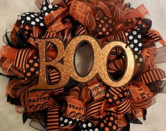 Happy Halloween Wreath, Halloween Wreath, Happy Halloween, Wreath, Wreaths, Halloween wreaths,Happy Halloween, Orange and black wreath