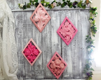 Pink Wall Decor, Flower Wall Hangings, Set of 4 Universal Statuary 1958, Roses, Marigold, Tulips, Poinsettias Floral, Nursery, Girls Bedroom