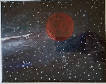 Mars planet painting original