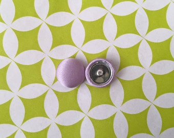 Button Earrings / Fabric Covered / Lilac Purple / Wholesale Jewelry / Gift Ideas / Bulk Discount / Wedding / Bridesmaid Favors