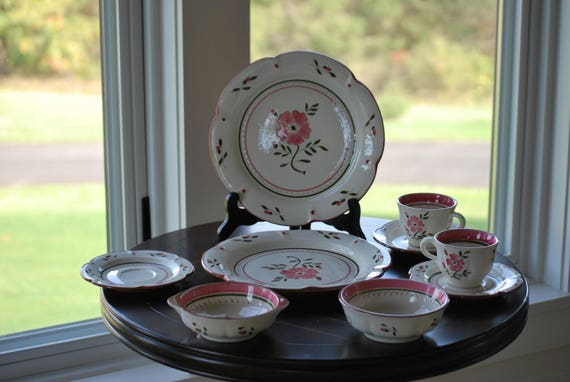 & Stangl Colonial Rose Lot Plates Cups Saucers