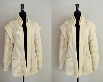 Vintage 1970's Braefair Sweater Coat / 70's Minimalist Ivory Mohair Knit Jacket