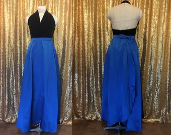Blue Satin Maxi Skirt // 1960s Bespoke Formal Party Skirt // Royal Blue Small Silk Skirt // Holiday Fashion