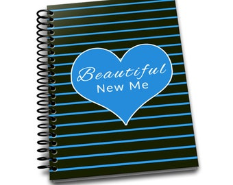 Beautiful New Me | Daily Food & Exercise Journal | 90 Days Meal and Activity Tracker | Become Beautiful | 6 x 9 | Food Journal | Blue Stripe
