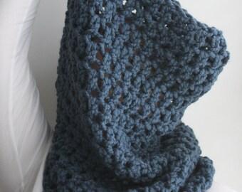 Chunky Scarf, Chunky Cowl Scarf, Snood, Oversized Knit Scarf, Pullover Knit Scarf, Denim Blue Scarf