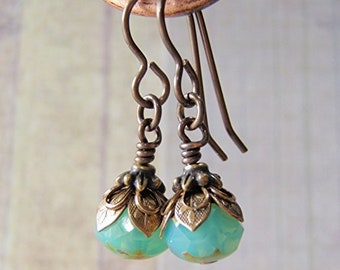 Aqua Opal Earrings Vintaj Brass Ear Wire