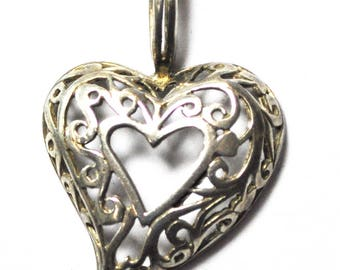 Beautiful Sterling Silver Filigree Heart Open Center Pendant MD 1.5""