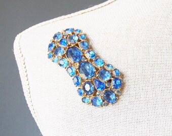 Vintage 1930s Cobalt Rhinestone Brooch Sash Blue Glass Large