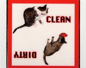 Clean Dirty Dishwasher Magnet, Cat Lover Gift, Dirty Clean Magnet, Kitchen Magnets, Cat Art, Deborah Julian