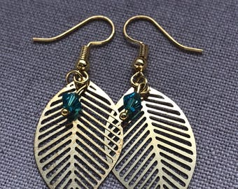 Gold Plated Leaf & Bead Earring