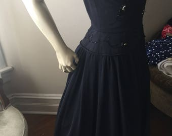 Rare 1940 heavy navy blue gabardine  gown with beading .
