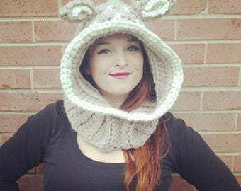 Crochet Fawn Hoodie with Cowl