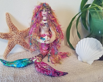 ON SALE - OOAK, rainbow colored fiber sculpted sitting mermaid on real starfish