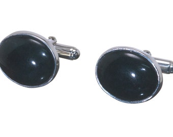 Black Onyx Cufflinks Mini Oval Traditional Regnas Sterling Silver 925