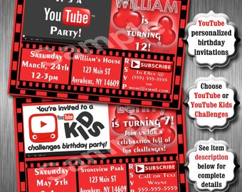 YouTube Birthday Party Invitations, Printable Invitation, YouTubers, Youtube Birthday Party, YouTube Party, Youtube Kids Challenges Party