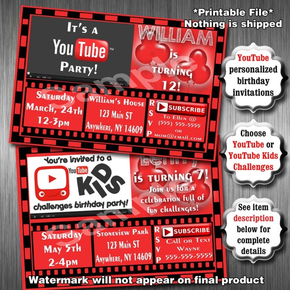 Youtube birthday party invitations printable invitation stopboris Image collections