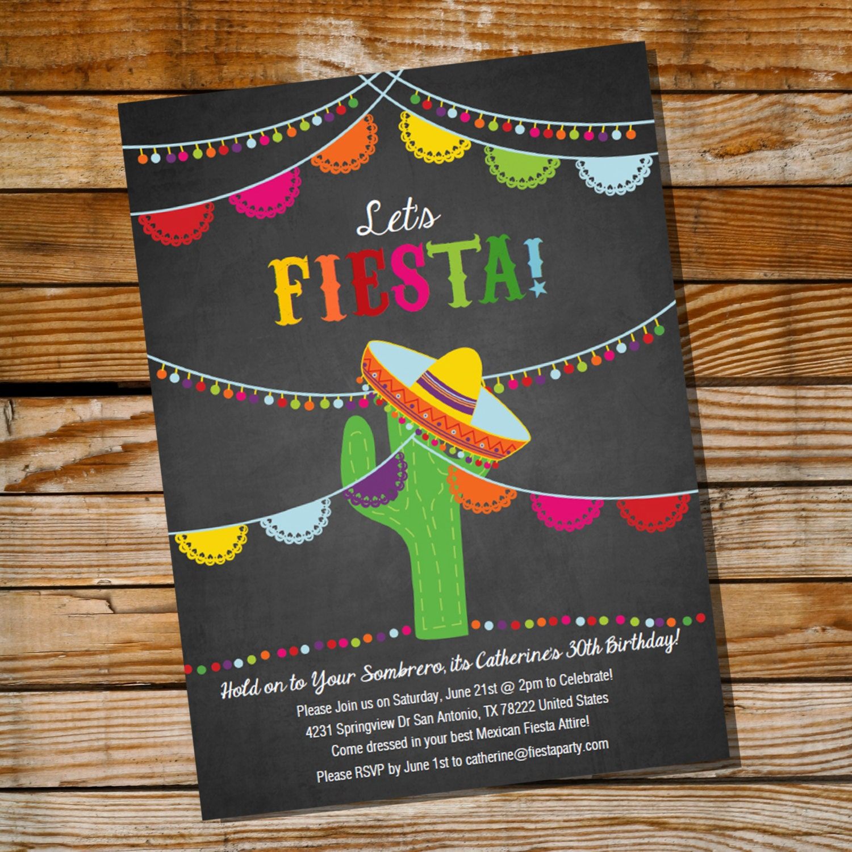Mexican Fiesta Birthday Invitation 16th 30th 40th 50th 60th