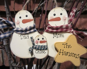 Family of 3: Personalized Snowman Ornament