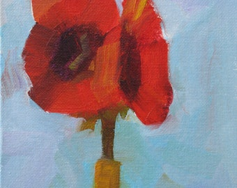 Reds 8x6 plein air oil of red flower