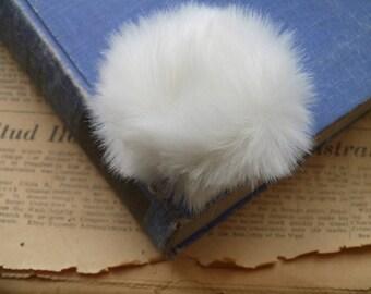 "2 White Pom Poms with Ring 80mm Hat Pom Pom Ball Accessory Decoration (3 1/8"") (PP3388)"