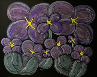 Lilac flowers done in colored drawing chalk