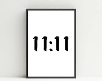 11:11 - Sacred Synchronicity, 1111 Number Print, Printable Wall Art, Minimalist Design, Black and White Print