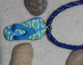 Blue Flip Flop necklace, Polymer clay necklace, Summer Necklace, Sandal Necklace, Slipper Necklace, Sandals Necklace