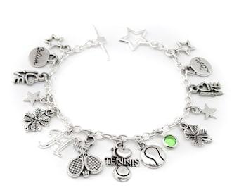 Tennis Charm Bracelet, Tennis Jewelry, Tennis Gifts, Tennis Team Gift, Tennis Player Gift