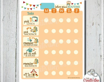 Before School Routine Chart | EDITABLE NAME | Orange | School Morning Chart | Daily Routine Chart | Printable School Chart | Chore Chart