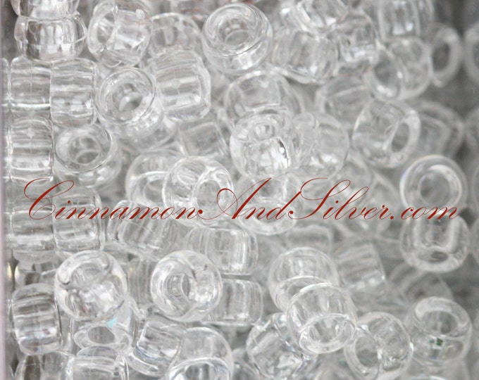 40 Pack Crystal Clear Plastic Small Pony Barrel Beads for Jewelry Crafts, 5mm by The Beadery