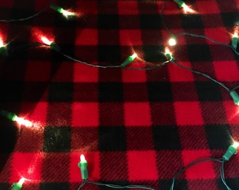 Buffalo Plaid Fleece (anti-pill) - Pillow Cover Only (teepee NOT included)