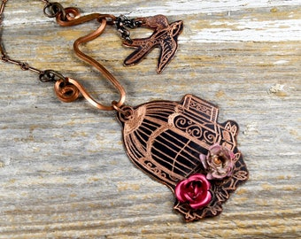 """Caged Bird Flies Away Necklace - """"Free"""" Hand Engraved Whimiscle Necklace in Copper - ReaganJuel: Metal3"""