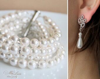 Bridal Jewelry Set, White Swarovski Pearl Bridal Jewelry Set, Earrings Bracelet SET, Wedding Earrings, Wedding Bracelet art. e40-b11