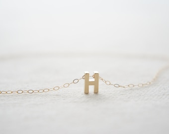 "Gold Letter, Alphabet, Initial capital ""H"" necklace, birthday gift, lucky charm, layered necklace"