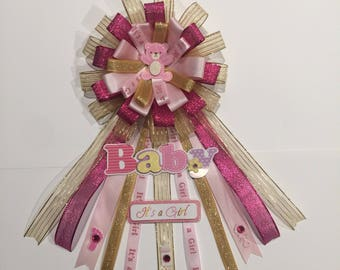 Pink and Gold Baby Shower Corsage