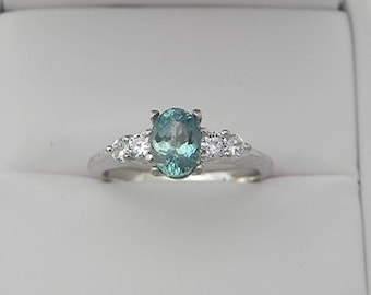 AAAA Blue Green Aquamarine   7x5mm  .90 Carats   in 14K white gold ring with White sapphire accents 1705