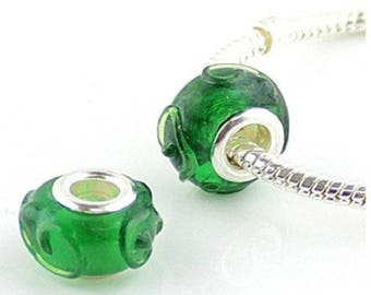 1 bead MURANO lampwork Sterling Silver 925 plated