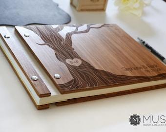 Bamboo Wedding Guest Book, Guest Book, Wooden Guest Book, Wedding Guest Book, Tree Guest Book, Rustic Wedding Album, Engraved Wedding Book
